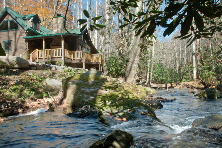 Fly Fishing Log Cabin On White Oak Creek Near Nantahala Lake
