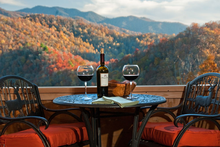 table for two, wine and view