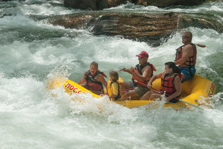 whitewater raft in rapids