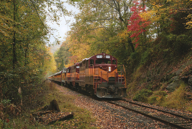Excursion train locomotive in fall